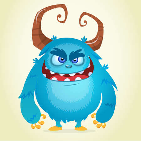 Angry cartoon monster. Halloween vector blue and horned monster Illustration