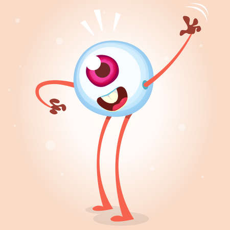 helloween: Happy cartoon eye monster waving. Helloween vector monster eye with hands and legs isolated on light background Illustration