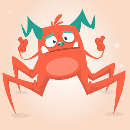 creepy alien: Cute cartoon monster spider. Halloween pink and horned monster character. Isolated on light background