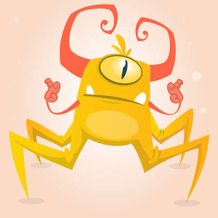one eye: Cute cartoon monster spider. Halloween yellow and horned monster character with one eye. Isolated on light background