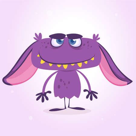Happy purple monster. Vector Halloween violet monster character mascot