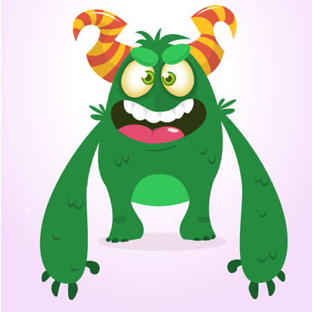 Happy green monster. Vector Halloween  monster character smiling and waving. Vector solated on light background Illustration
