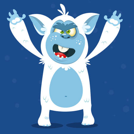 Angry cartoon monster yeti. Vector Halloween bigfoot character