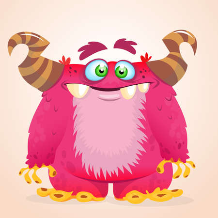 Happy cartoon monster. Halloween vector horned monster smiling. Isolated Illustration