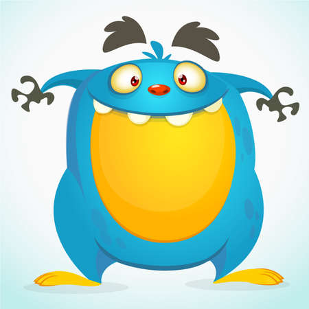 Happy cartoon monster. Halloween vector blue monster
