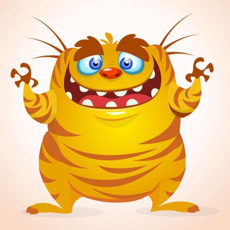 Happy cartoon monster. Halloween vector yellow striped monster