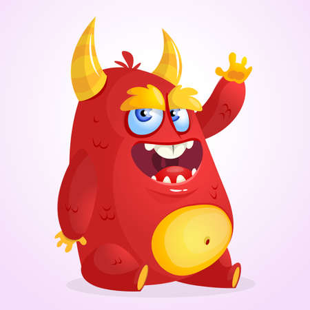 Happy cartoon monster. Halloween vector horned fat monster sitting and waving. Isolated 向量圖像