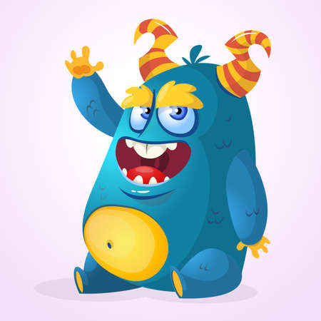 Happy cartoon monster. Halloween vector horned fat monster sitting and presenting Illustration