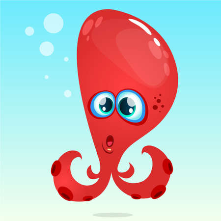 Happy vector cartoon octopus. Vector red octopus surprised.  Isolated on underwater background