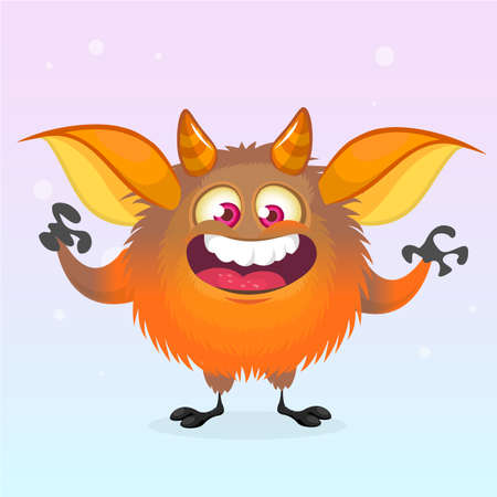 Cute cartoon monster smiling. Halloween vector fluffy orange monster 向量圖像