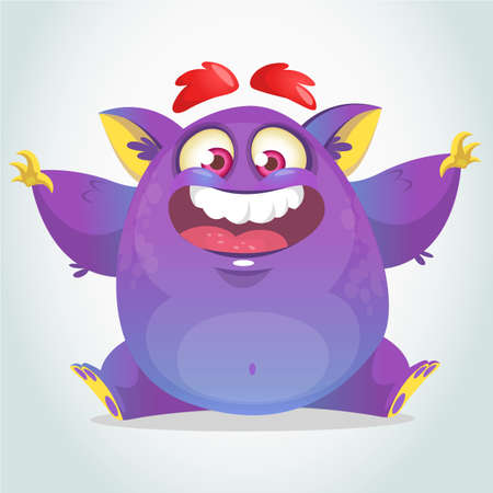 Happy cartoon monster. Halloween vector fat purple monster sitting