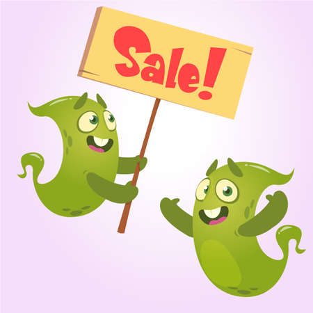 Cute cartoon monster holding sale sign.  Green monsters set for shopping discout