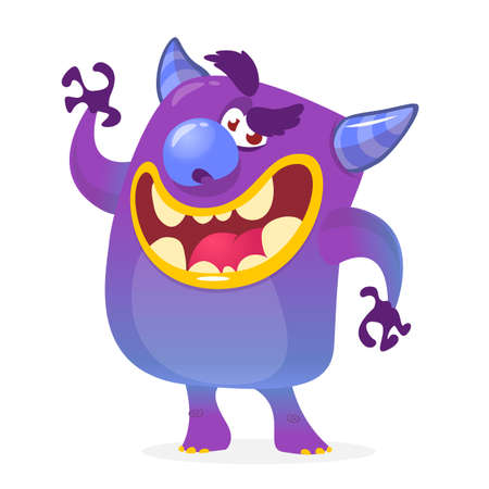 lucifer: Cartoon illustration of a devil with a happy expression. Halloween vector monster