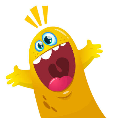blob: Cartoon yellow blob monster. Halloween vector illustration of excited monster