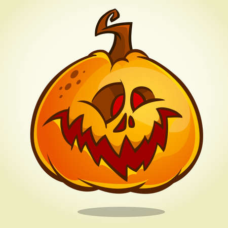 Cartoon pumpkin head with an evil expression on his face. Vector Halloween illustration isolated Ilustração