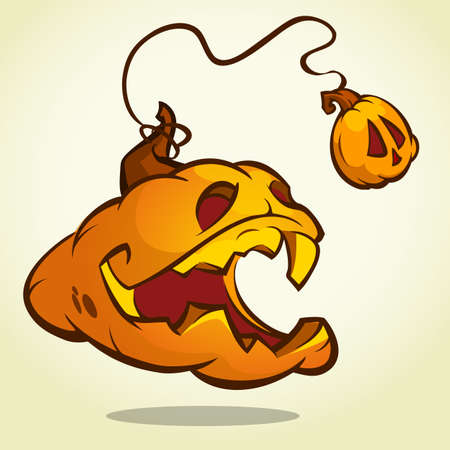 Halloween pumpkin with scary face on white. Vector illustration isolated