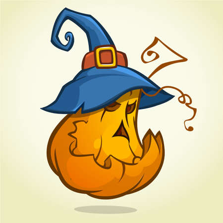Jack-O-Lantern. Halloween pumpkin with black witches hat. Vector illustration. Çizim