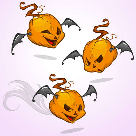 Set of vector cartoon pumpkin heads expressions with bat wings. Vector Halloween illustration isolated