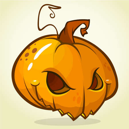 pumpkin head: Spooky vector Halloween Jack-o-Lantern head on white background. Pumpkin head isolated