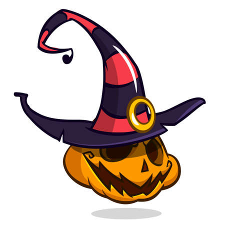 frightful: Jack-O-Lantern. Halloween pumpkin with smiling expression in witch hat. Vector illustration isolated on white background