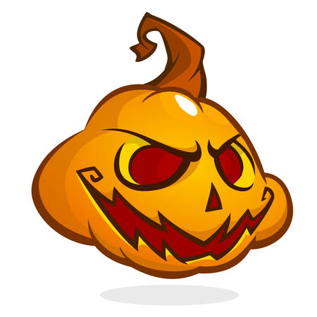 pumpkin head: Halloween Pumpkin head isolated on white. Scary Jack. Vector illustration