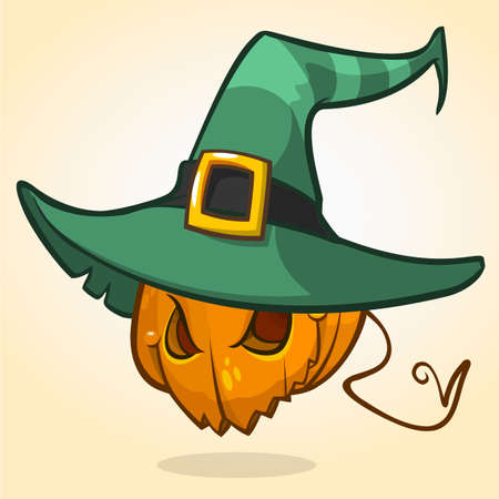 frightful: Jack-O-Lantern. Halloween pumpkin head in witch hat. Vector character isolated