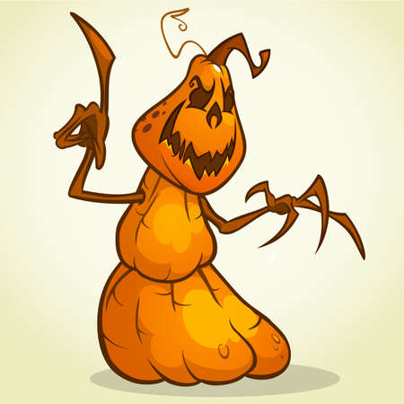 pumpkin head: Scarecrow pumpkin head cartoon style isolated on white. Vector Halloween design