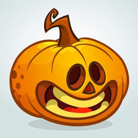 terrify: Cartoon Halloween pumpkin head. Vector isolated Illustration