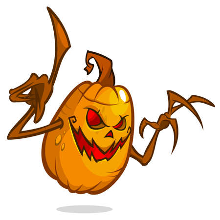 Halloween Pumpkin with wooden hands isolated on white background