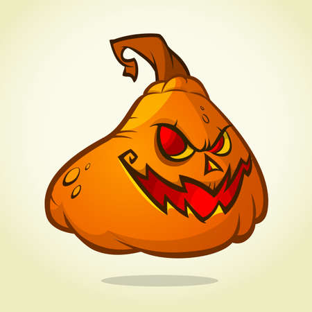 pumpkin head: Cute pumpkin head. Cartoon Halloween vector illustration isolated