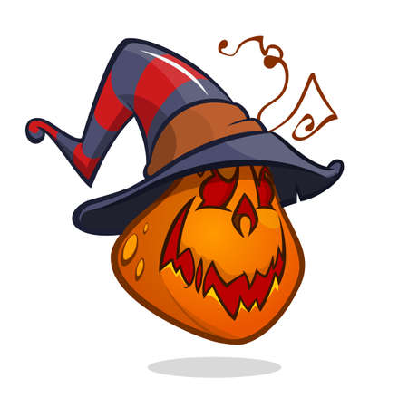 Jack-O-Lantern. Halloween pumpkin in witch hat. Vector illustration isolated Illustration