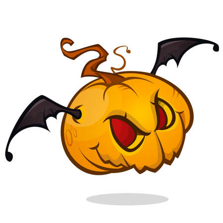 Cartoon pumpkin head with bat wings flying and screaming. Vector Halloween illustration isolated