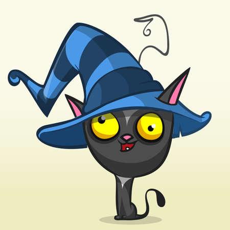 halloween black cat: Cartoon Halloween black cat in witch hat. Vector illustration isolated Illustration