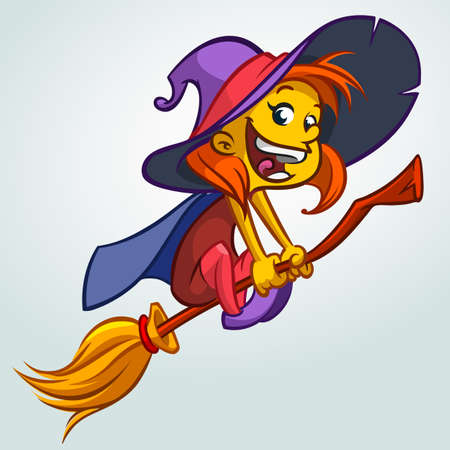 little one: Cute witch flying on her broom. Vector Halloween illustration of witch isolated on white background.