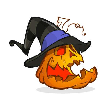 Jack-O-Lantern. Halloween pumpkin in witch hat. Vector illustration isolated Çizim