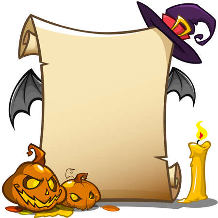Halloween banner with empty paper scroll. Vector illustration isolated on white Illustration