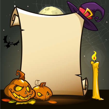Halloween banner with empty paper scroll with attributes. Vector illustration isolated on dark night background