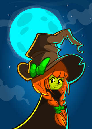 big hat: Cartoon witch in big hat. Vector Halloween illustration of a cute witch on night background with a full moon