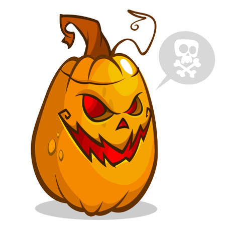 Vector illustration of smiley face carved in pumpkin head for Halloween. Vector isolated Illustration
