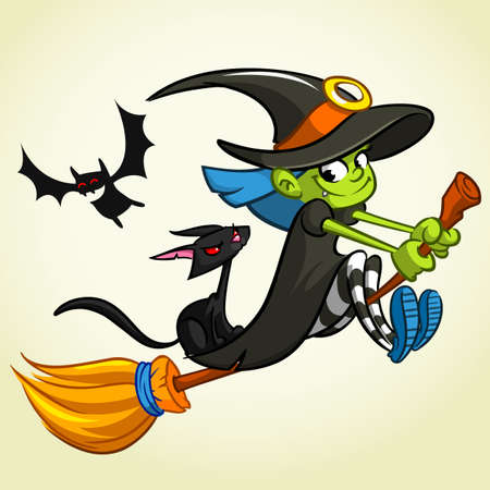 Vector illustration of cartoon girl dressed in a witch costume for Halloween and riding a broomstick Illustration