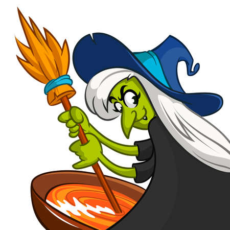 brew: Ugly Halloween Witch Preparing A Potion. Vector illustration of a cartoon witch stirring her spooky brew isolated