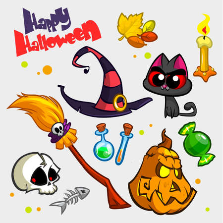 Vector set of Halloween pumpkin and attributes icons. Witch cat, pumpkin head, skull, witch hat, poison bottle, broomstick, big candy, candle and fish skeleton. Illustration
