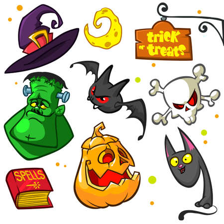 spells: Set of Halloween pumpkin and attributes icons. Witch cat, pumpkin, skull, witch hat, frankenstein, book of spells, trick or treats sign and bat