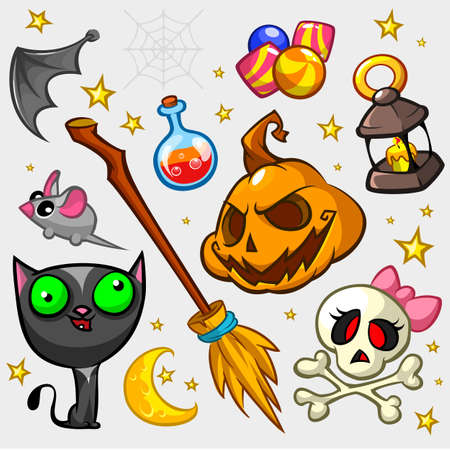 attributes: Collection of Halloween pumpkin and attributes for decoration. Witch cat, mouse, bat wing, candies, pumpkin, poison bottle, broom, skull and lantern icons. Halloween icon set