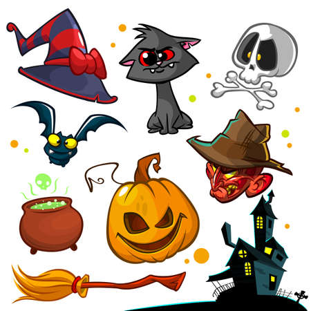 Vector set of Halloween pumpkin and attributes icons. Witch cat, pumpkin head, skull, witch hat, poisonpot, broomstick, and haunted house