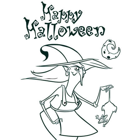 hag: Halloween witch in hat holding a rat in her hand outlines. Vector illustration of witch silhouette. Coloring book Illustration