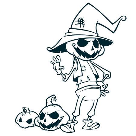 Halloween pumpkin head scarecrow outlines, vector postcard for Halloween holiday
