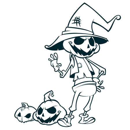 Halloween pumpkin head scarecrow outlines, vector postcard for Halloween holiday