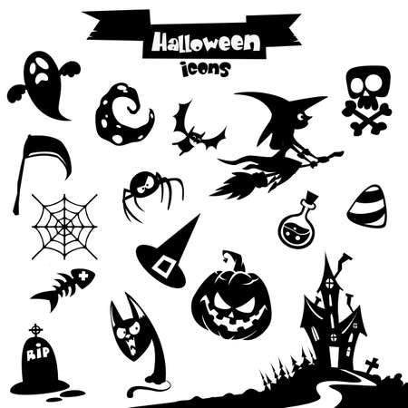 broomstick: Vector collection of halloween elements. Pumpkin head, witch, skull, grim reaper, haunted house, cat,ghost, moon, spider, poison, pot, broomstick, candy, scythe, web, bat, tombstone icons. Illustration