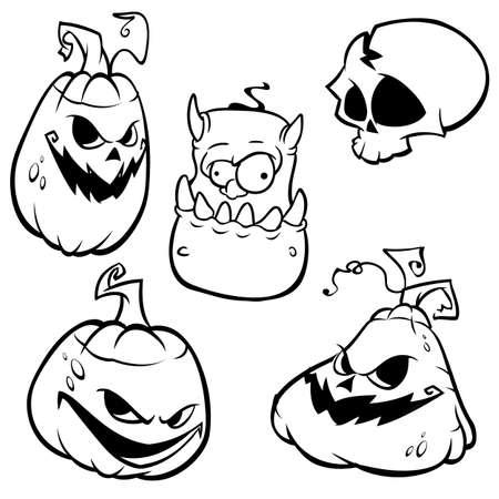 Vector collection of Halloween elements. Monster, pumpkin head, skull grim reaper icons.  Vector outlines